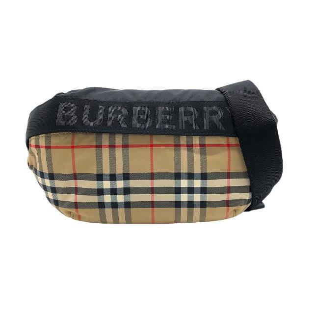 【BURBERRY 巴寶莉】經典Vintage格紋帆布中號斜背/腰包(8026557-米)