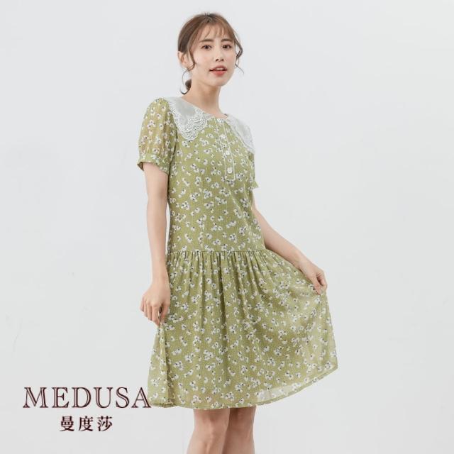 【MEDUSA 曼度莎】復古大領碎花雪紡洋裝(M-XL)|野餐風 休閒洋裝|上班穿搭 職場穿搭(601-37506)