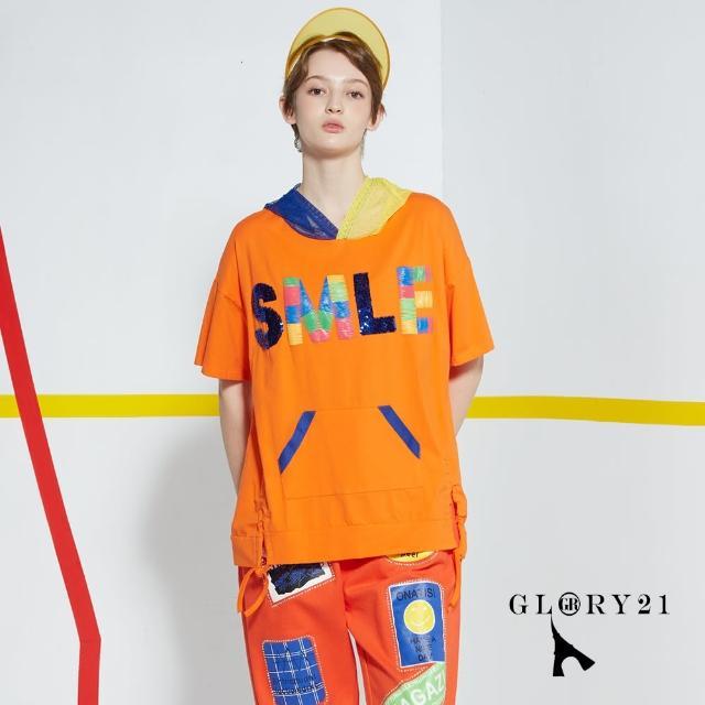 【GLORY21】新品-童趣笑臉連帽T恤上衣(橘色)