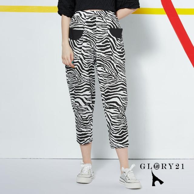 【GLORY21】新品-斑馬紋七分休閒褲(黑色)