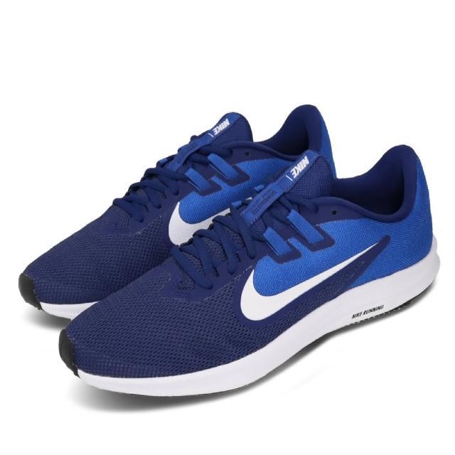【NIKE 耐吉】慢跑鞋 Downshifter 9 運動 男鞋 跑鞋 輕量 訓練 路跑 推薦 藍 白(AQ7481-400)