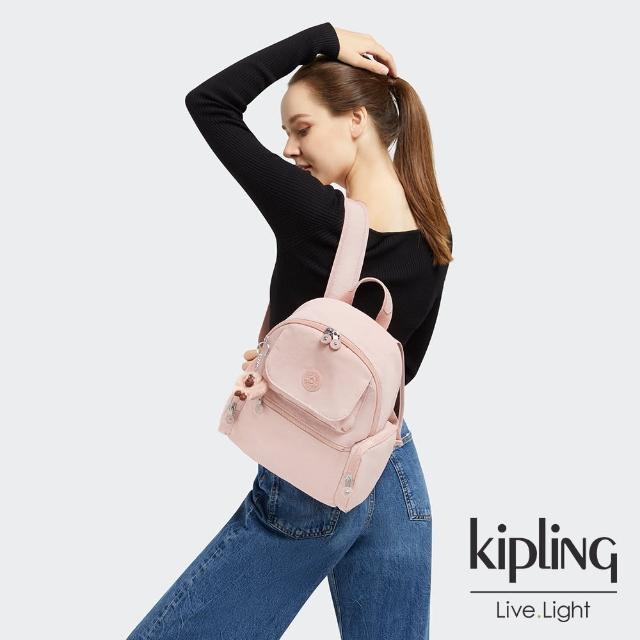 【KIPLING】甜美粉嫩色多口袋拉鍊後背包-MATTA