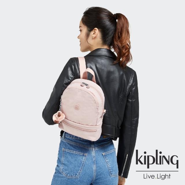 【KIPLING】甜美粉嫩色兩用後背包-IVES S