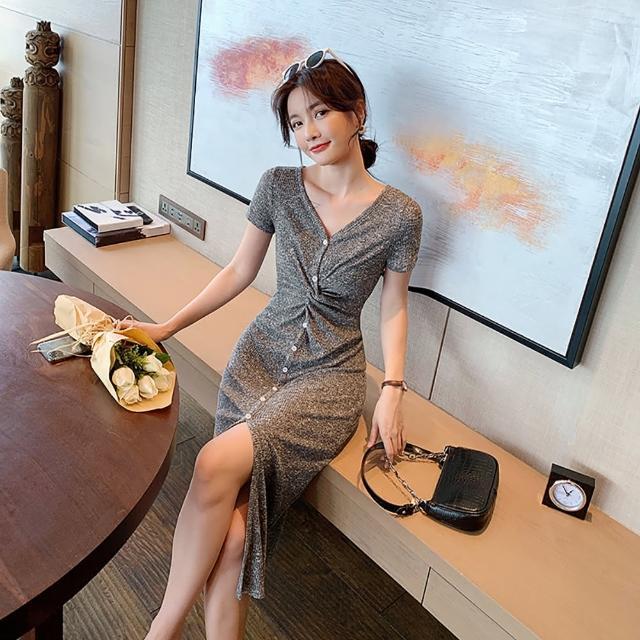 【女神婚紗禮服店】灰花色針織V領短袖長洋裝 提貨券(花灰色洋裝 針織長洋裝)