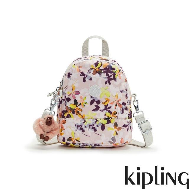 【KIPLING】飄零落花粉隨身兩用斜背包-IVES MINI