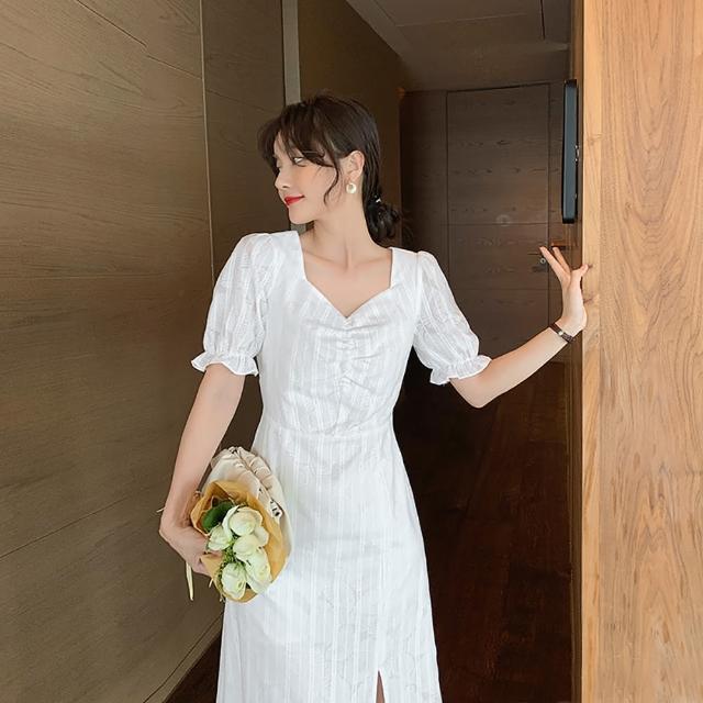 【女神婚紗禮服店】清新出眾白色方領短袖洋裝 提貨券(白色洋裝 方領設計)