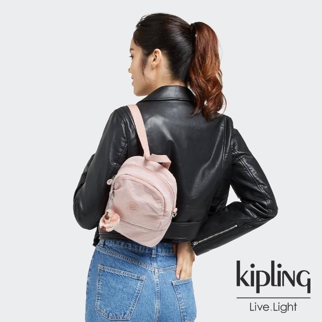 【KIPLING】甜美粉嫩色隨身兩用斜背包-IVES MINI