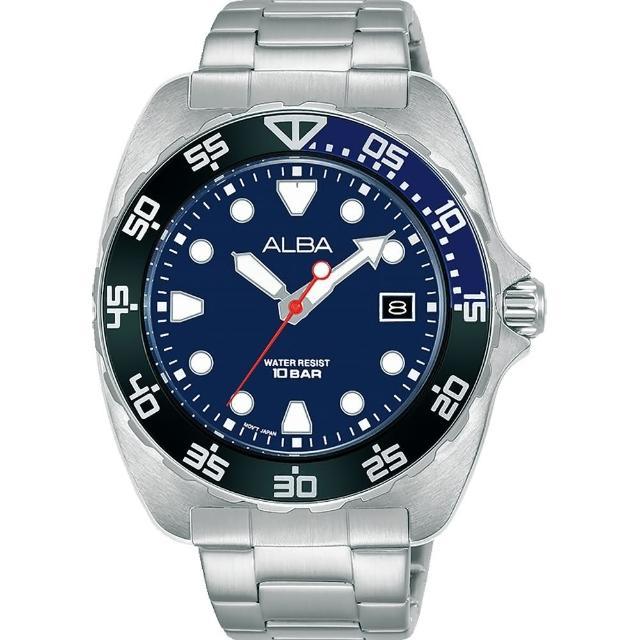 【ALBA】Noir 藍色錶盤夜光手錶-限量藍造型水鬼鋼帶錶44.7mm(AS9M91X1/VJ42-X317B)