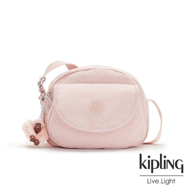 【KIPLING】甜美粉嫩色翻蓋側背小包-STELMA