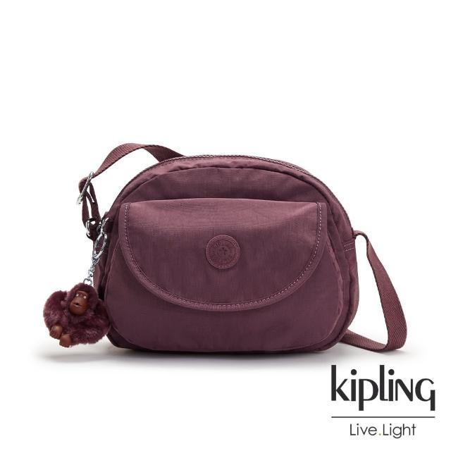 【KIPLING】秋日栗糖色翻蓋側背小包-STELMA
