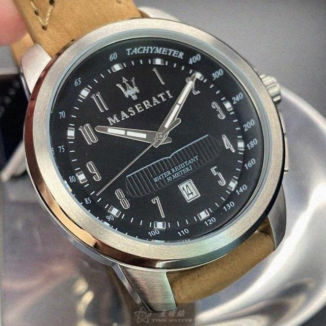 【MASERATI 瑪莎拉蒂】瑪莎拉蒂男女通用錶型號R8851121004(黑色錶面銀錶殼咖啡色真皮皮革錶帶款)