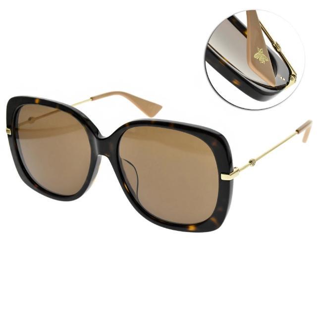【GUCCI 古馳】太陽眼鏡 摩登時尚大框款(琥珀棕-金粉-棕鏡片 #GG0511SA 003)