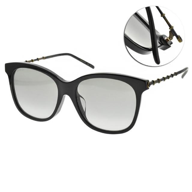 【GUCCI 古馳】太陽眼鏡 經典竹節大框款(黑-漸層灰藍鏡片 #GG0655SA 001)