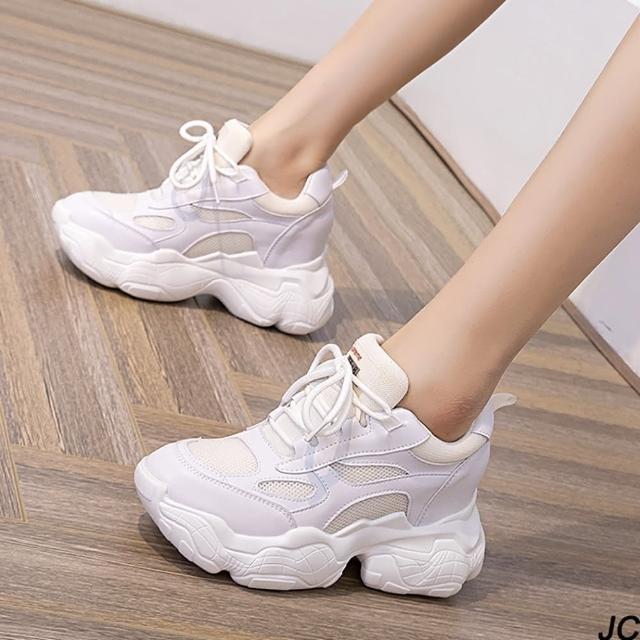 【JC Collection】真皮搭配網紗透氣舒適厚底內增高帥氣老爹鞋休閒鞋(白色)