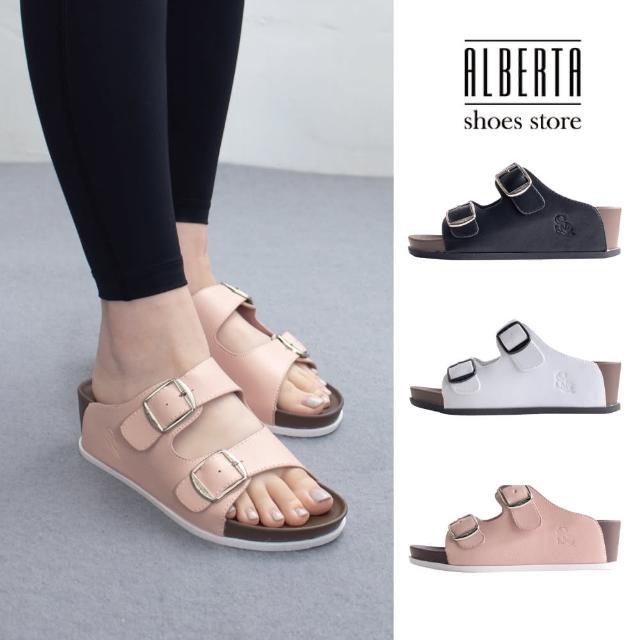 【Alberta】前2後5.5cm拖鞋 休閒百搭側面雙飾釦 皮革圓頭楔型厚底涼拖鞋