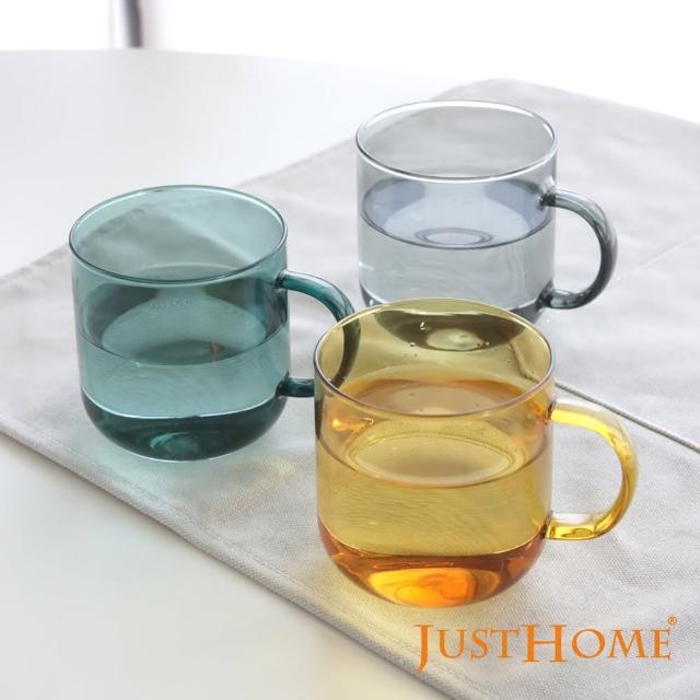 【Just Home】Just Home透彩耐熱玻璃馬克杯380ml/2入組-有把手(玻璃杯、耐熱玻璃)