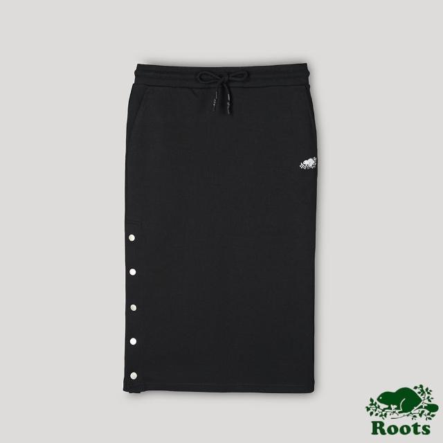 【Roots】Roots女裝-開拓者系列 釘釦設計中長裙(黑色)