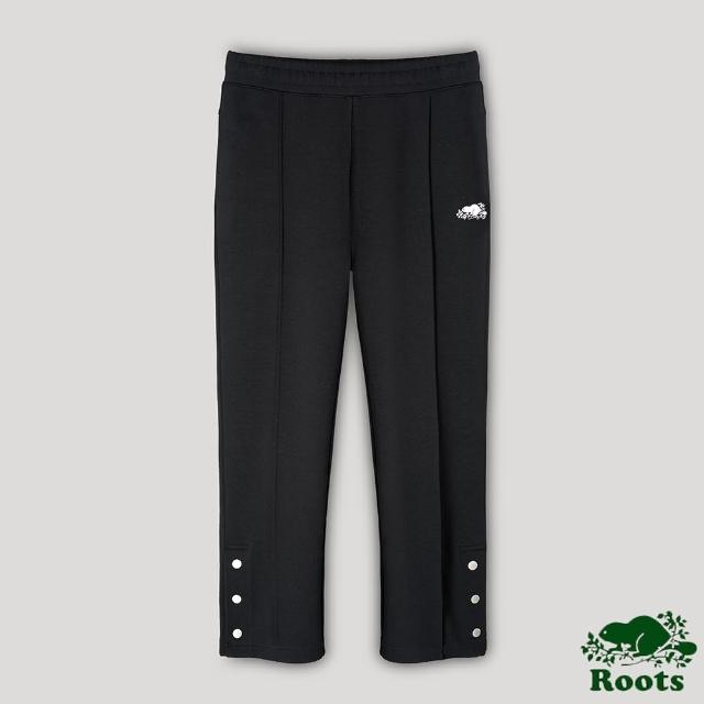 【Roots】Roots女裝-開拓者系列 釘釦設計九分棉褲(黑色)
