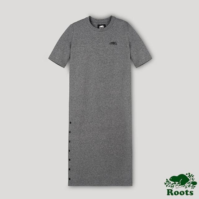 【Roots】Roots女裝-開拓者系列 釘釦設計五分袖長版洋裝(灰色)