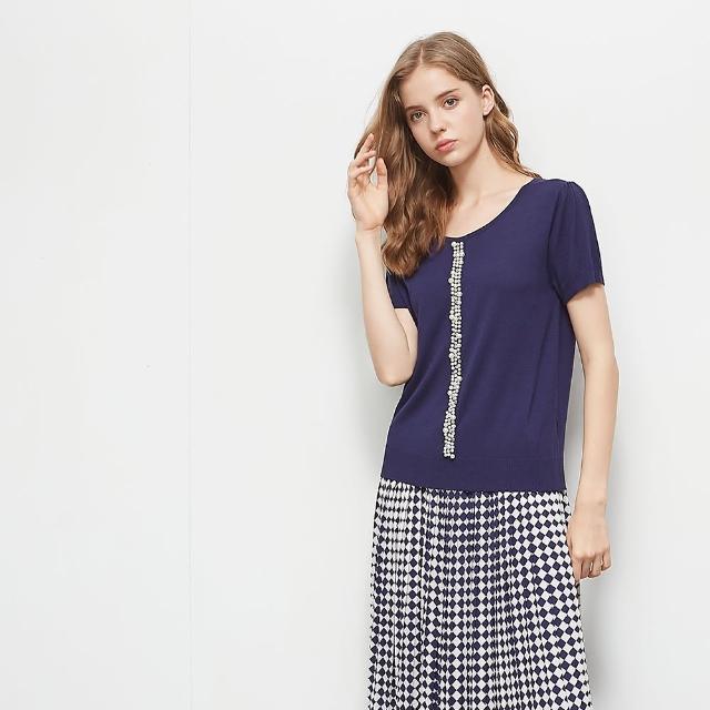 【KiKi】氣質珍珠造型-女短袖針織衫 珍珠 藍 白 桔(三色/版型適中)