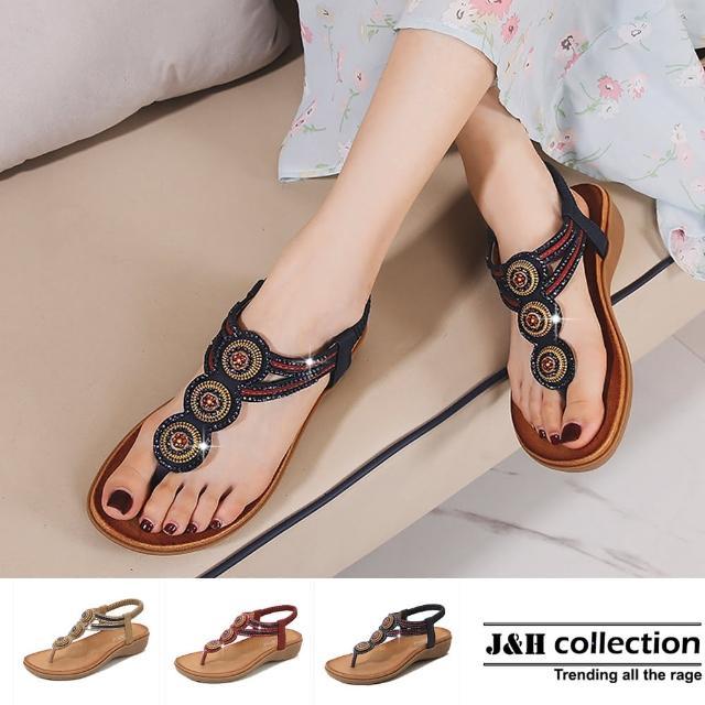 【J&H collection】復古串珠潮流夾趾涼鞋拖鞋(現+預 藍色 / 酒紅色 / 杏色)