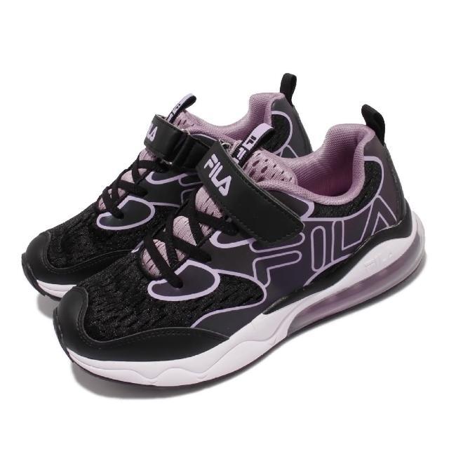【FILA】J805V慢跑鞋 J805V 運動休閒 反光 童鞋 斐樂 魔鬼氈 透氣網布 球鞋穿搭 中大童 黑 紫(3J805V099)