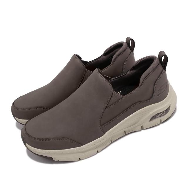 【SKECHERS】休閒鞋 Arch Fit-Karmyne 男鞋 健走鞋 專利鞋墊 避震 緩衝 皮革 套入式 棕(232103-BRN)