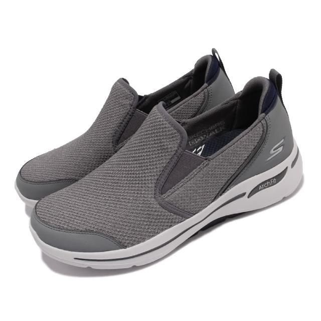 【SKECHERS】休閒鞋 Go Walk Arch Fit 男鞋 健走鞋 專利鞋墊 避震 緩衝 回彈 套入式 灰(216183-CCNV)