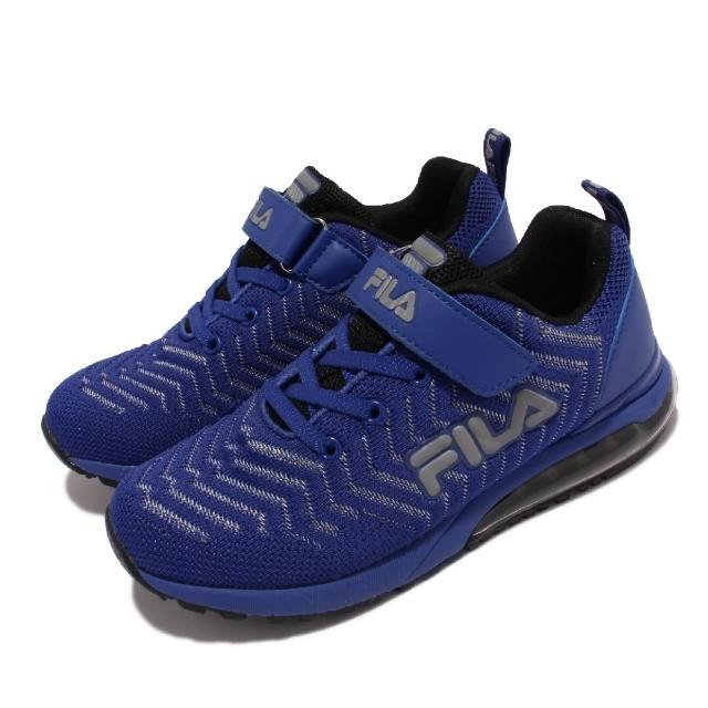 【FILA】慢跑鞋 J810V 運動休閒 反光 童鞋 女鞋 斐樂 魔鬼氈 透氣網布 球鞋穿搭 中大童 藍 銀(3J810V344)