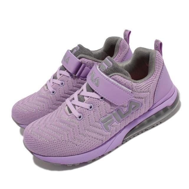 【FILA】慢跑鞋 J810V 運動休閒 反光 童鞋 女鞋 斐樂 魔鬼氈 透氣網布 球鞋穿搭 中大童 紫(3J810V944)