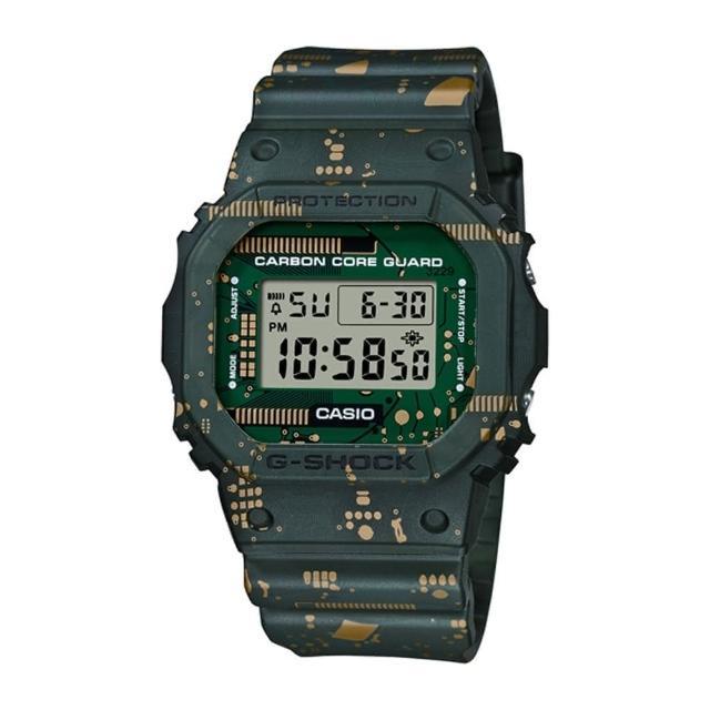 【CASIO 卡西歐】G-SHOCK 板迷彩經典手錶 DWE-5600CC-3(GA-110-1B)