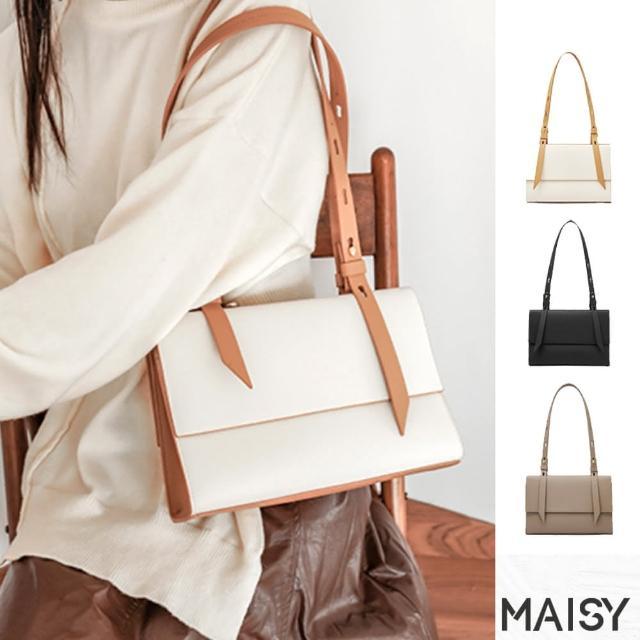 【MAISY】簡約設計真皮單肩腋下包(現+預 黑色 / 白杏色 / 卡其色)