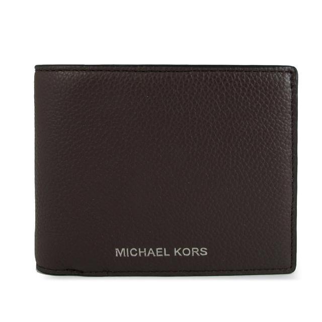 【Michael Kors】燙銀LOGO對開式短夾x附證件夾(咖啡色)