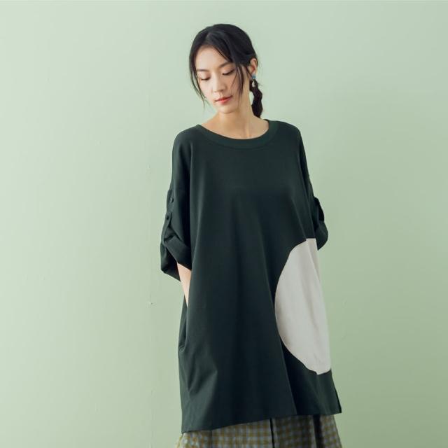 【MOSS CLUB】貼布落肩-女長洋裝 落肩 藍 綠 卡 紫(四色/魅力商品/版型寬鬆)