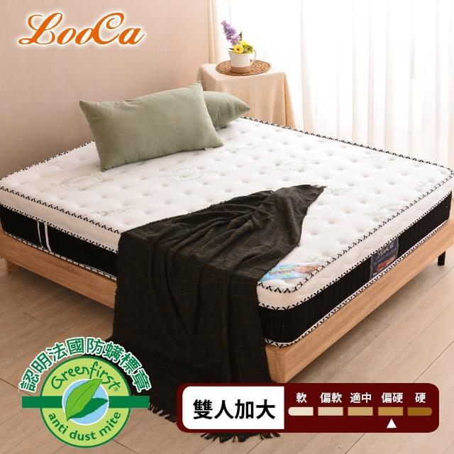 【LooCa】法國防蹣防蚊4.8雙簧護框硬式獨立筒床墊(加大6尺)