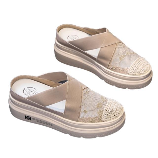 【Taroko】韓風蕾絲甜美透氣圓頭增高拖鞋(2色可選)