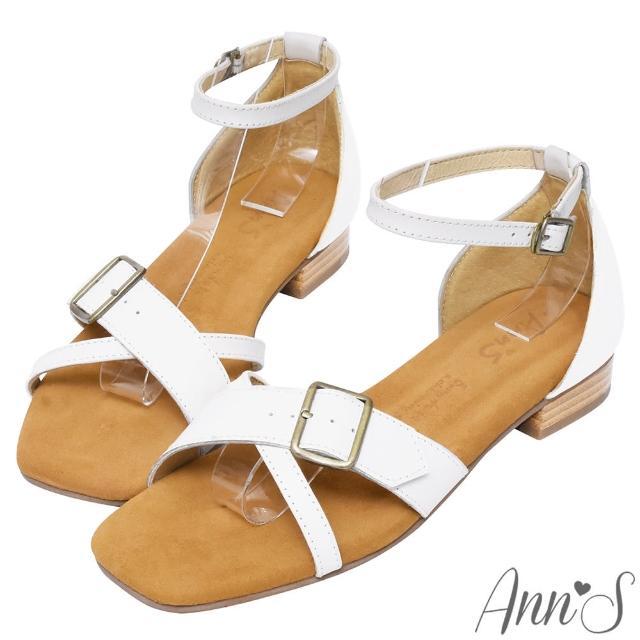 【Ann'S】水洗牛皮-顯瘦V口交叉古銅釦木紋跟方頭涼拖鞋(白)