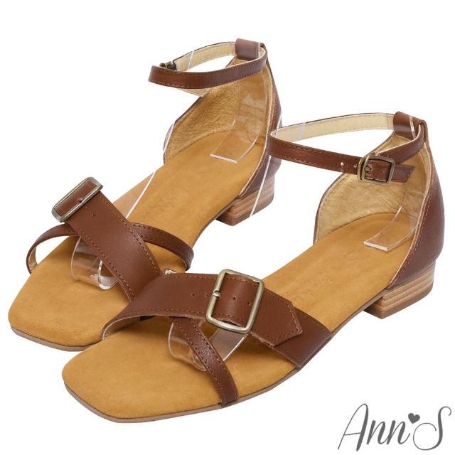 【Ann'S】水洗牛皮-顯瘦V口交叉古銅釦木紋跟方頭涼拖鞋(咖)