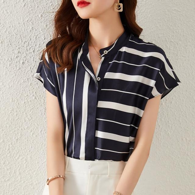 【Pure 衣櫃】歐美氣質簡約設計感條紋短袖襯衫(簡約/氣質/百搭/KDT-3624)