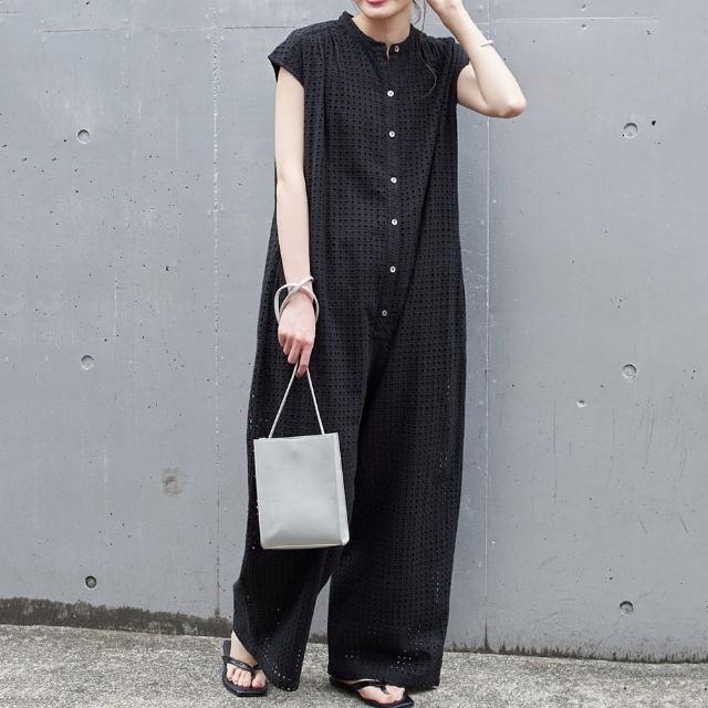 【Pure 衣櫃】日系設計感簍空蕾絲寬鬆連體褲(簡約/舒適/百搭/KDP-0335)