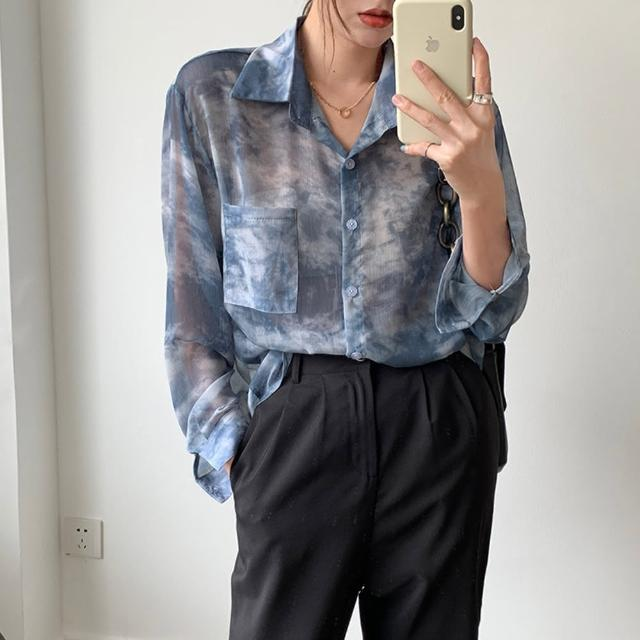 【Pure 衣櫃】韓系時尚水墨暈染微透長袖襯衫(率性/風格/百搭/KDT-11662)