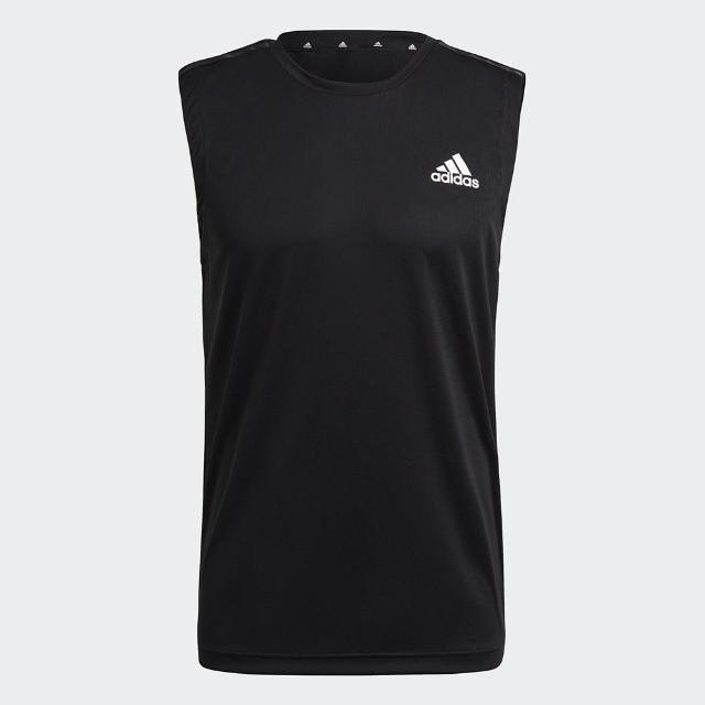 【adidas 愛迪達】上衣 男款 運動 健身 慢跑 無袖上衣 AEROREADY 黑 GM2130