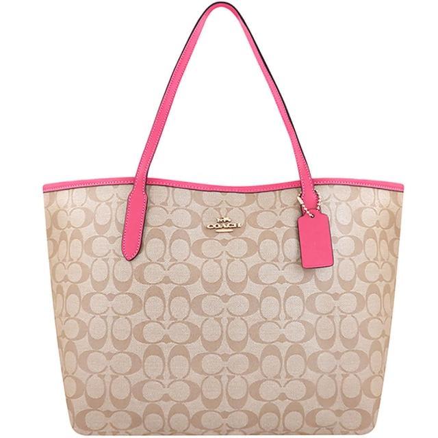 【COACH】大C PVC托特包-粉紅色/大型(買就送璀璨水晶觸控筆)