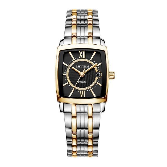 【RHYTHM 麗聲】經典時尚個性石英腕錶P1202S04(黑金/不鏽鋼錶帶)