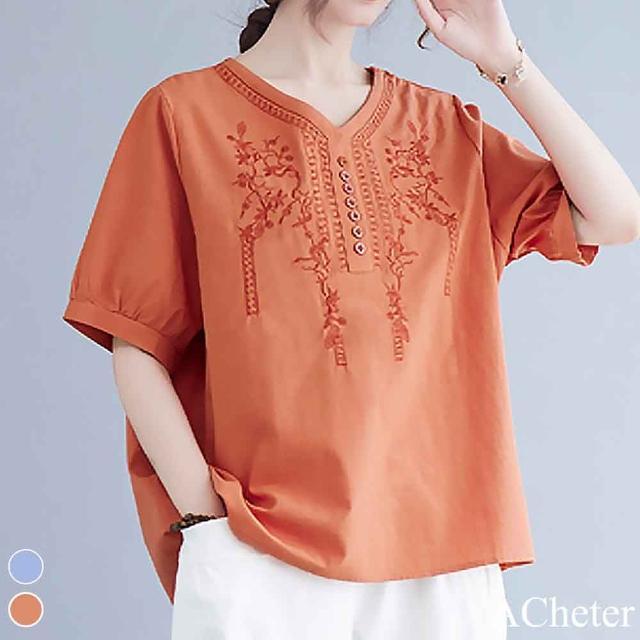 【ACheter】百搭刺繡棉麻花苞袖寬鬆上衣#110131現貨+預購(2色)