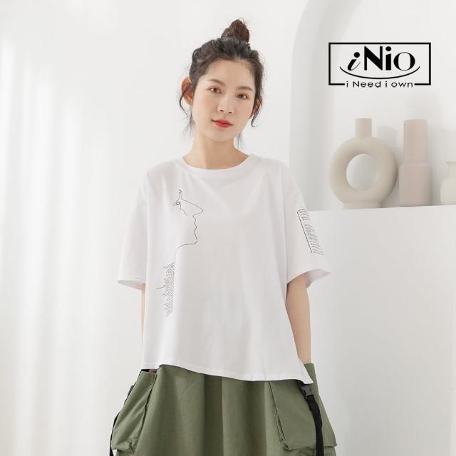 【iNio 衣著美學】微斜下擺 棉質上衣 短袖上衣(S-L適穿)-現貨快出C1W1232
