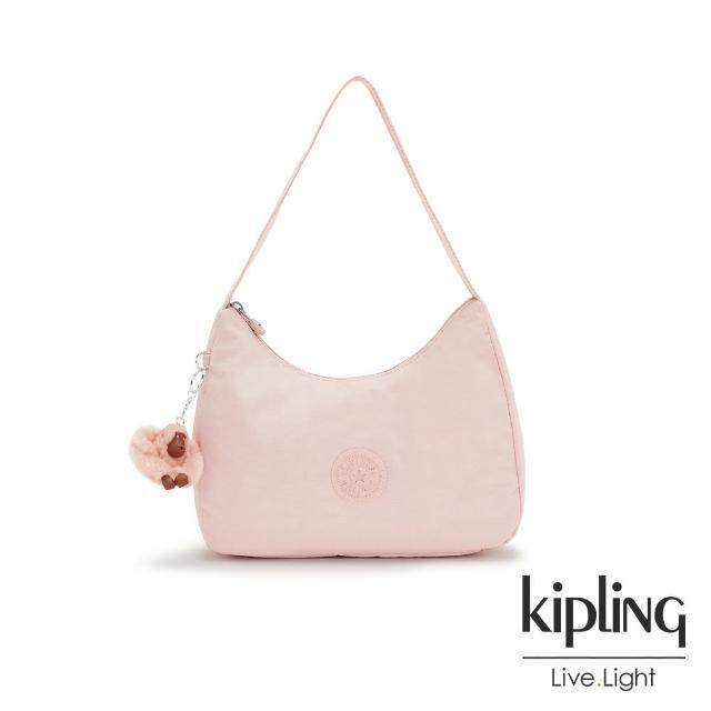 【KIPLING】甜美粉嫩色造型大開口拉鍊手提肩背包-ESTEBAN