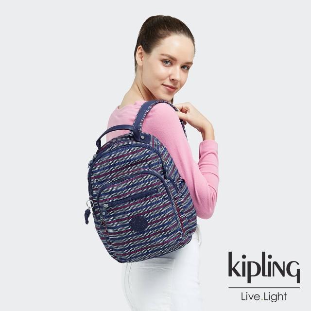 【KIPLING】圖騰拼接印花機能手提後背包-SEOUL S
