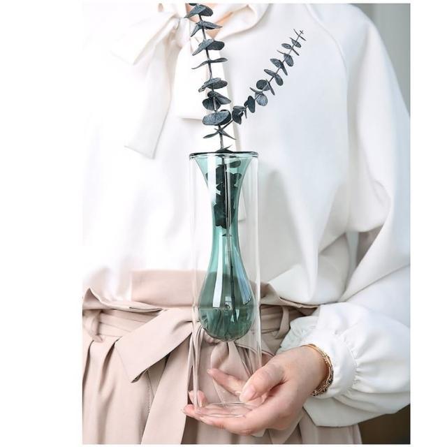 【JEN】北歐簡約雙色玻璃創意雙層造型花瓶花器桌面擺飾居家裝飾高24cm(水滴型綠色)