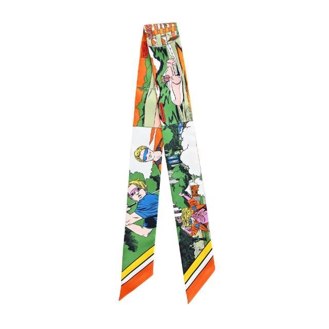 【Hermes 愛馬仕】Wow 漫畫式風格Twilly 絲巾(粉黃綠)